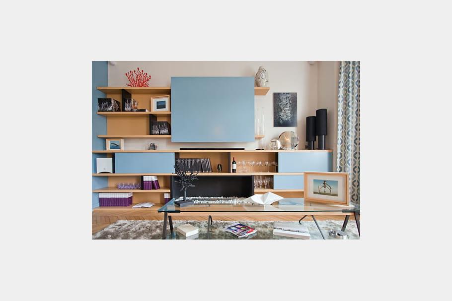 Le meuble t l duo de bleu et blanc dans un appart for Meuble tele fin