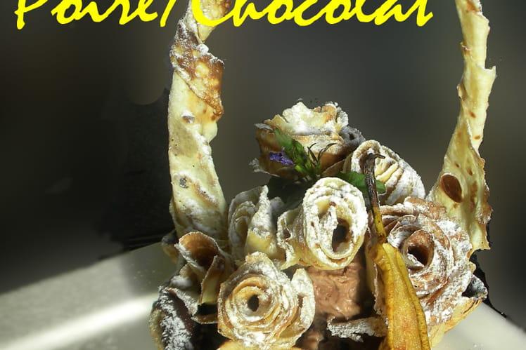 Crêpe en panier croustillant, poire chocolat