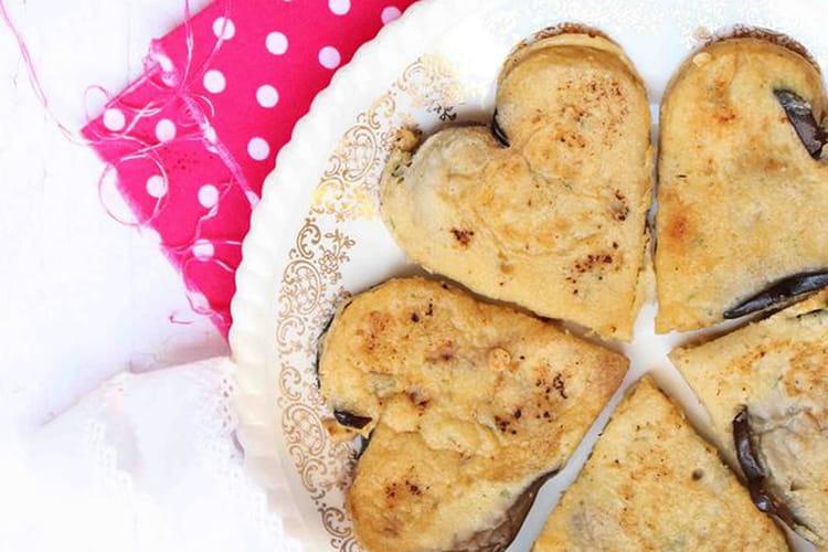 Omelette à l'aubergine façon pancake coeur