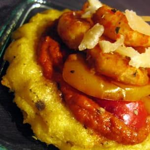 tartelettes de polenta croustillante aux crevettes