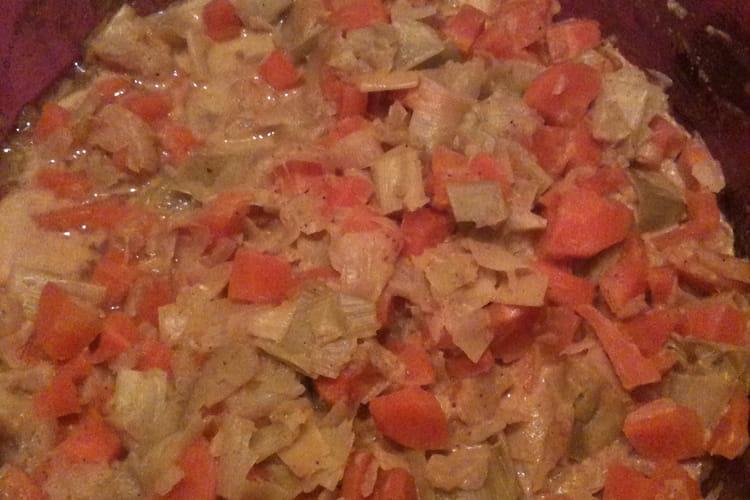 Knackis en blanquette de légumes au curry