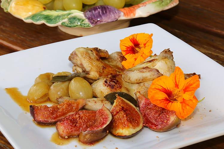 recette de cailles r ties aux figues et aux raisins muscats la recette facile. Black Bedroom Furniture Sets. Home Design Ideas