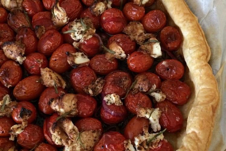 Tarte salée aux tomates cerise et chèvre frais