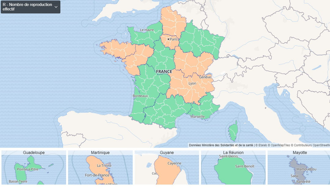 Carte du taux de reproduction par région en France au 8 octobre