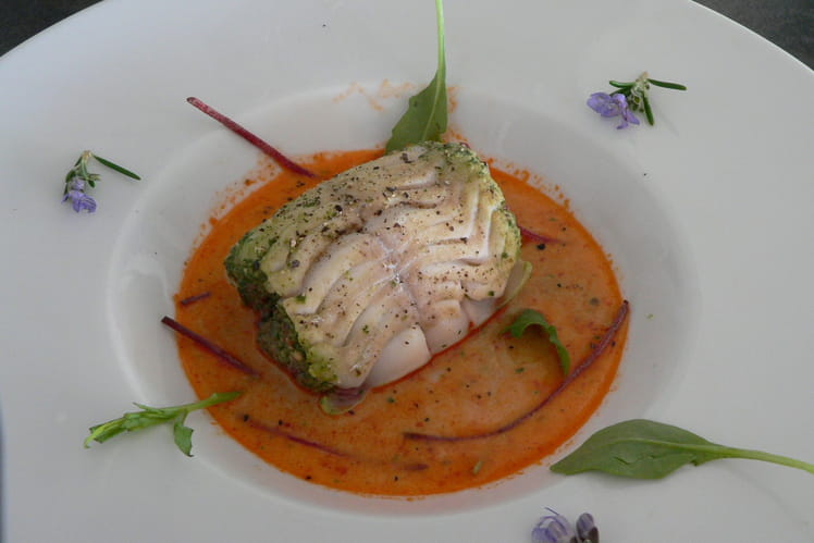 Ballottine de lieu au pesto, jus de homard