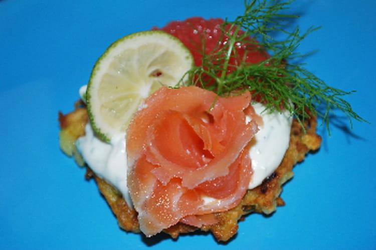 Blinis de pommes de terre au saumon fumé