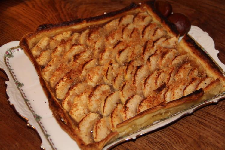 Tarte fine d'automne, pommes et châtaignes