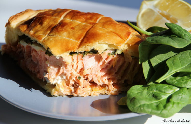 de saumon aux épinards frais, en croûte feuilletée