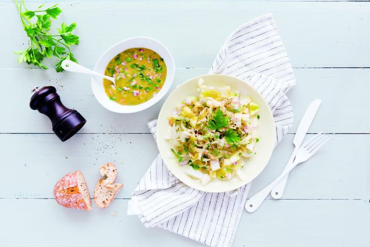 Salade d'endives et sa vinaigrette aux échalotes, moutarde et persil