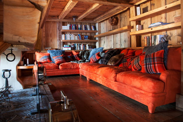 Canapé angle rouge orange