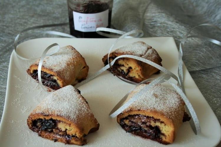 Brioche façon pains au chocolat à la confiture de cerises, Bio, sans oeufs, gluten