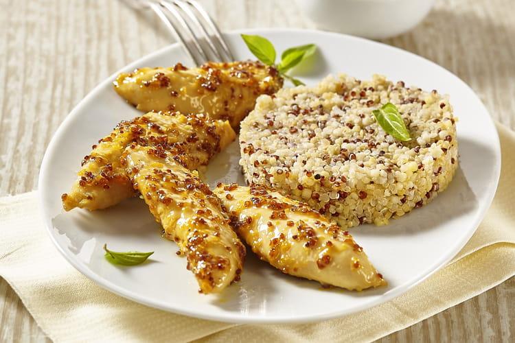 Aiguillettes de poulet miel/moutarde et son Quinoa Délice Tipiak