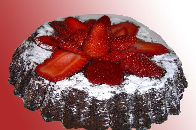 Moelleux au chocolat et aux fraises