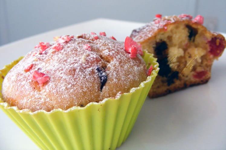 Muffins fraises, oranges confites et chocolat