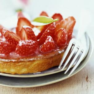 tarte fraise rhubarbe menthe