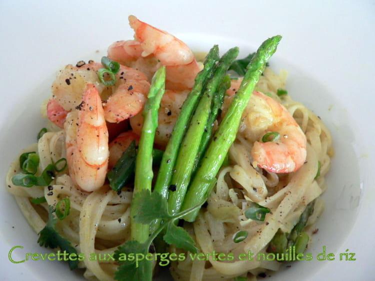 Recette de crevettes aux asperges vertes et nouilles de riz la recette facile - Cuisiner les asperges vertes ...