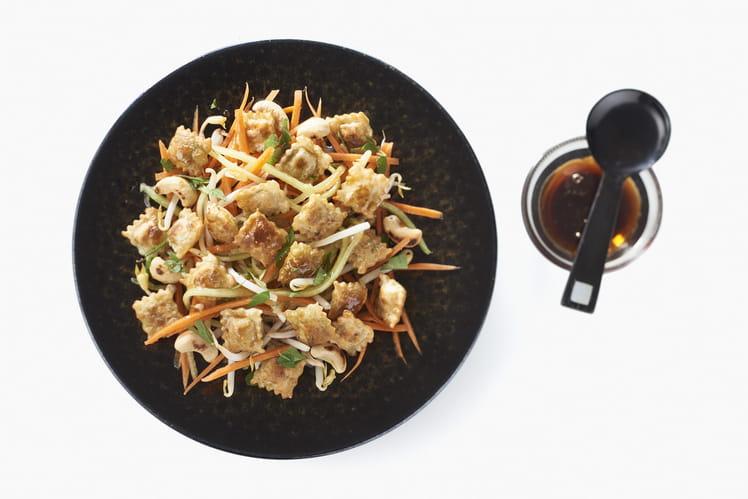 Salade de pousses de soja aux ravioles fromage frais & basilic