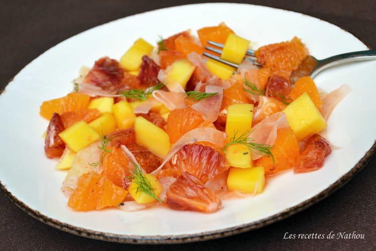 Salade de clémentines, oranges sanguines, mangue et fenouil mariné
