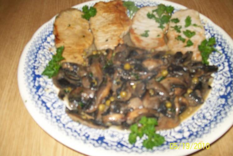 Escalopes de porc aux champignons
