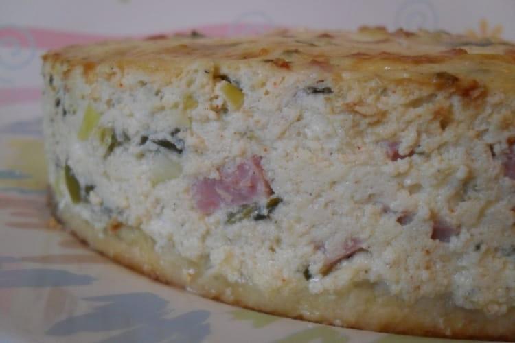 Cheesecake jambon, poireaux et feta