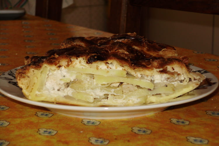 Tourte aux pommes de terre, poulet et Boursin