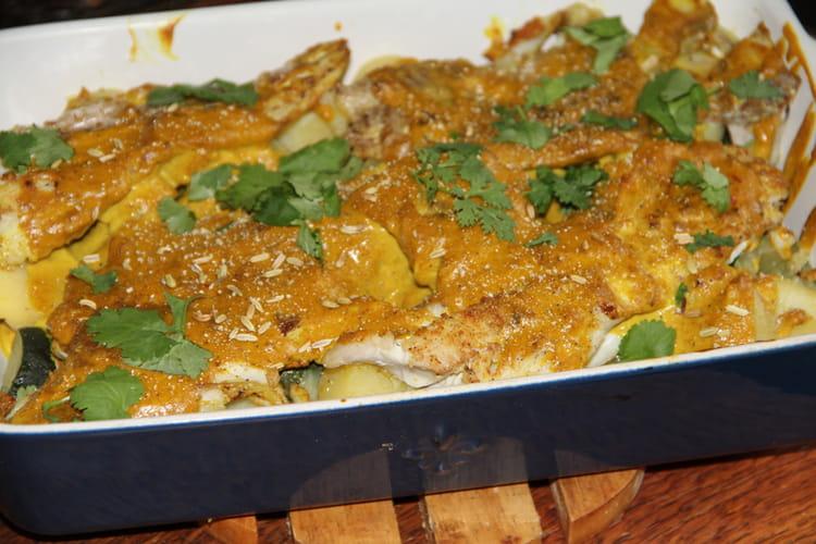 Filet de lieu noir au curry jaune, lait de coco et légumes