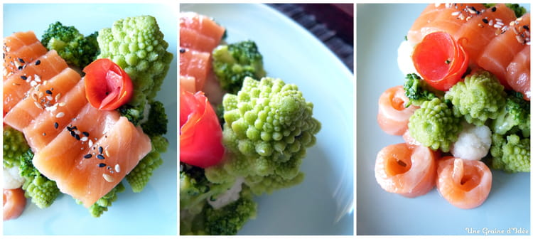 Recette de sashimi saumon au sel gomasio son trio de - Cuisiner saumon surgele ...
