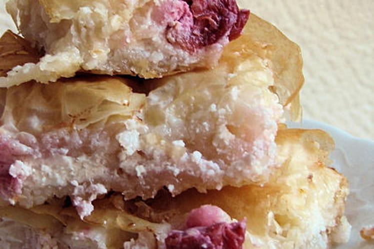 Cheesecake feuilleté aux griottes et à la fleur d'oranger