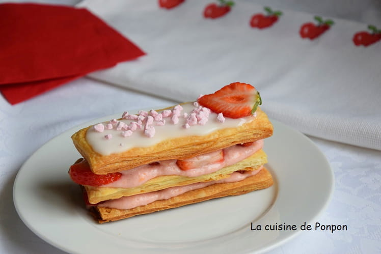 Mille-feuille ganache fraise chocolat blanc