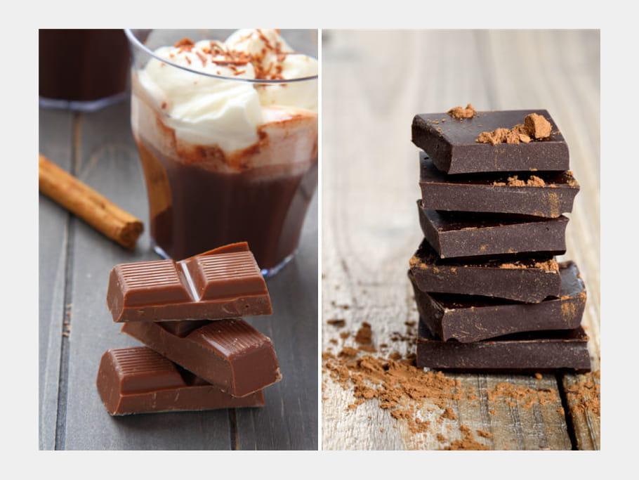chocolat noir ou chocolat au lait match des calories sp cial f tes journal des femmes. Black Bedroom Furniture Sets. Home Design Ideas