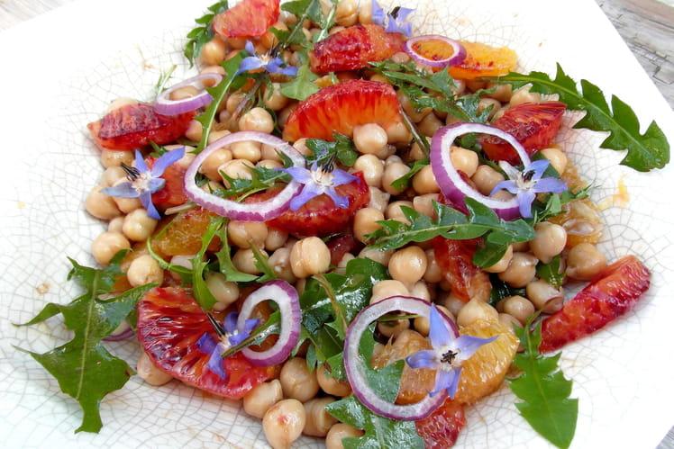 Salade de pois chiche et orange sanguine