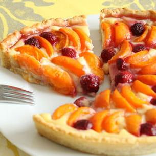 tarte aux abricots et aux framboises