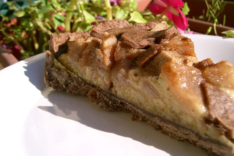 Tarte chocolat-poires-amandes