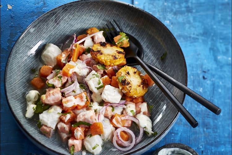 Ceviche aux deux poissons sauce yaourt