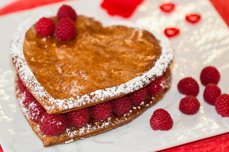Gâteau Cœur feuilleté vanille framboises