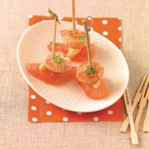 bouchée de langoustines au pamplemousse et asperges blanches