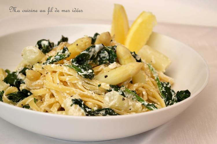 Linguine aux asperges blanches, épinards, parmesan et ricotta