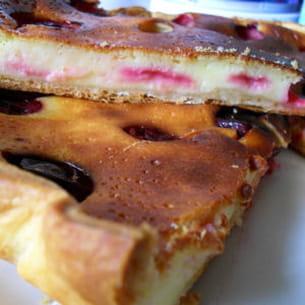tarte au fromage blanc et prunes rouges