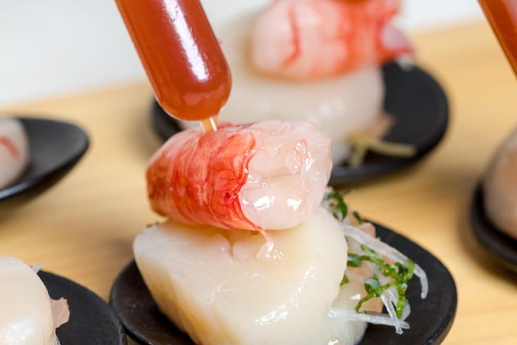 Sashimi de Saint Jacques et gambas au pamplemousse de Floride