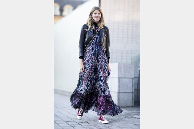 Street style à Paris : la maxi robe bohème