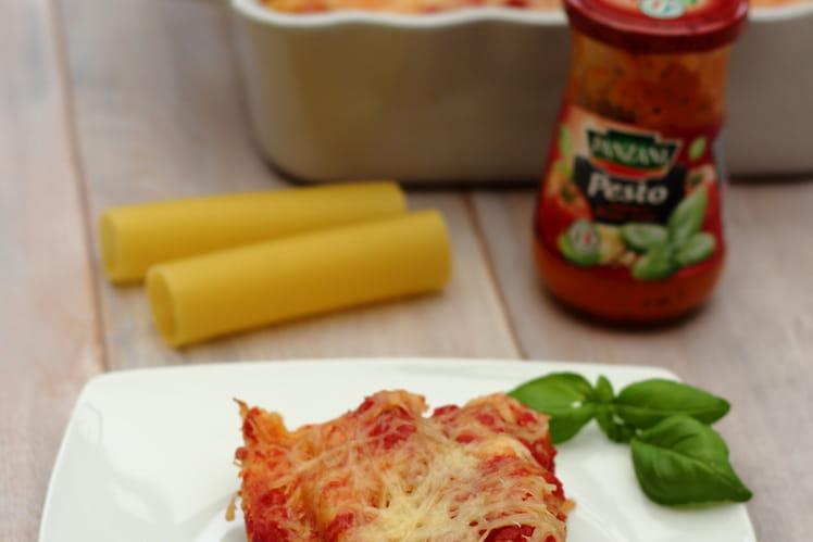 Cannelloni au thon et pesto de tomates et basilic
