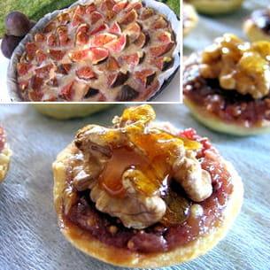 mini tartelettes aux noix et aux figues et tarte aux figues et noix
