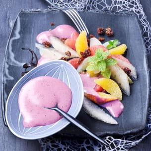 salade d'agrumes avec sabayon aux myrtilles
