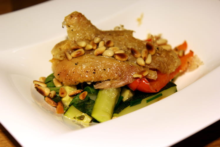 Cuisses de volaille fermière au parmesan, légumes fondants