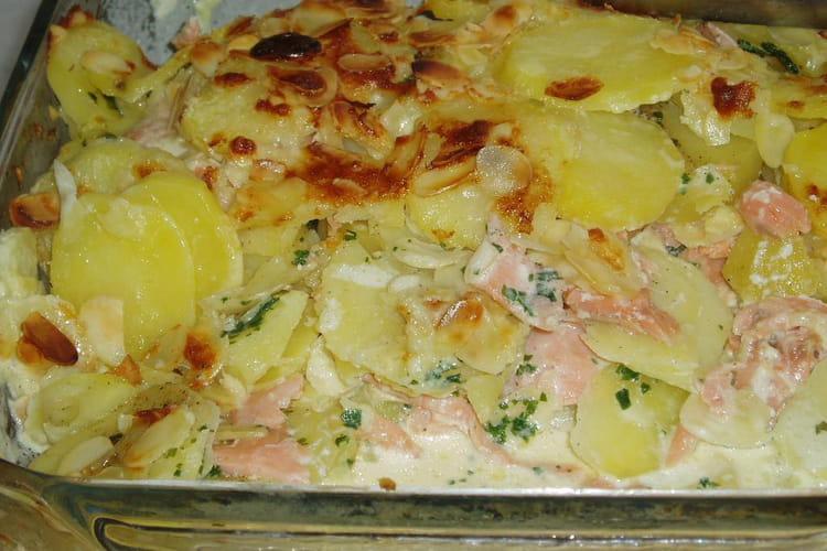 Gratin de pommes de terre et saumon