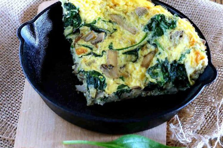 Omelette aux épinards et champignons bio