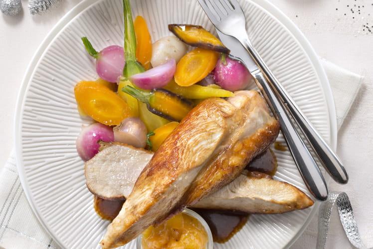 Suprêmes de Chapon, chutney de mangue, petits légumes glacés