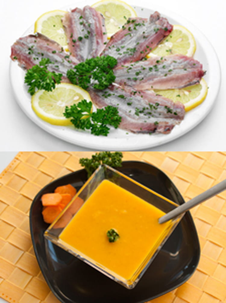 recette de soupe froide de carotte orange coriandre accompagn e de ses filets de sardines la. Black Bedroom Furniture Sets. Home Design Ideas