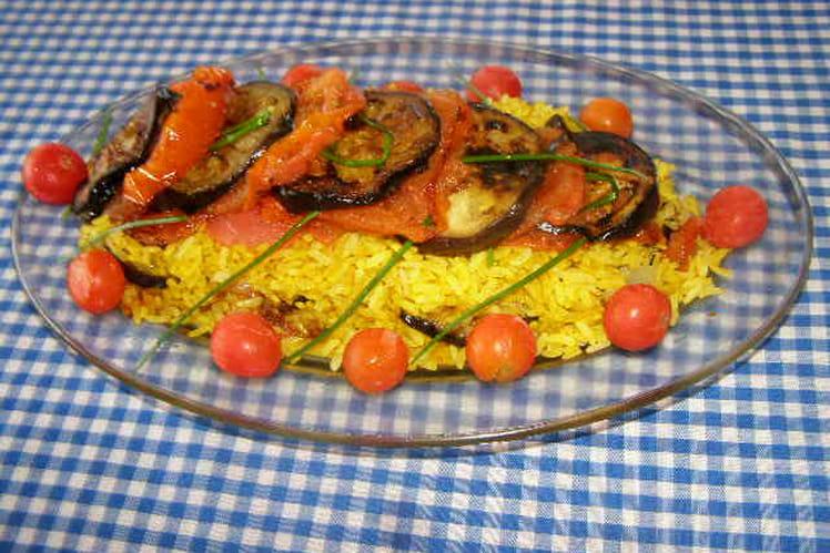 Millefeuilles d'aubergines, tomates et riz