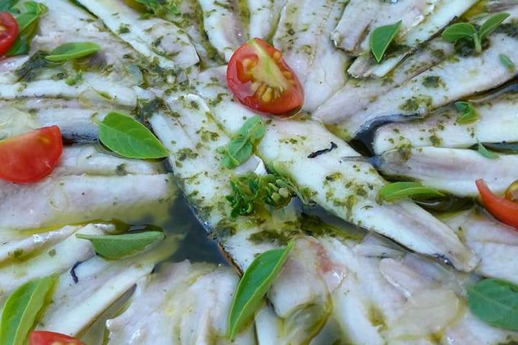 Filet d'anchois marinés au basilic